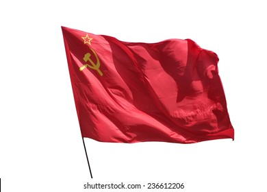 The flag of the Soviet Union (USSR) waving in the wind.