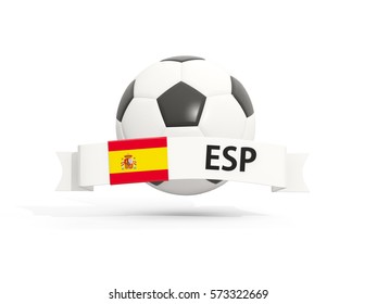 Flag of spain, football with banner and country code isolated on white. 3D illustration