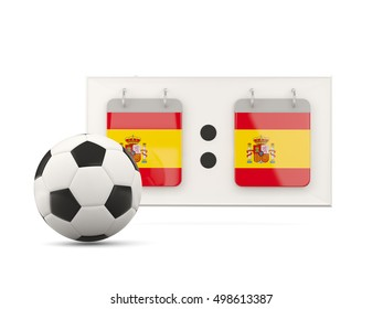 Flag of spain, football with scoreboard and national team flag. 3D illustration