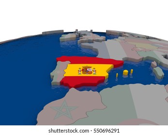 Flag of Spain on globe. Official flag colours, accurate country borders. 3D illustration