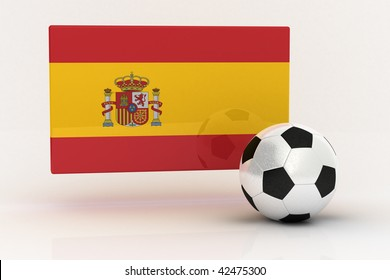 Flag of Spain with soccer ball