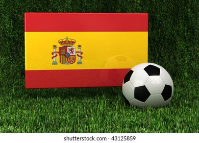 Flag of Spain with soccer ball over grass background - very highly detailed render