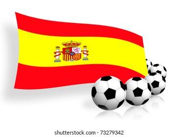 flag of Spain & soccer balls on white