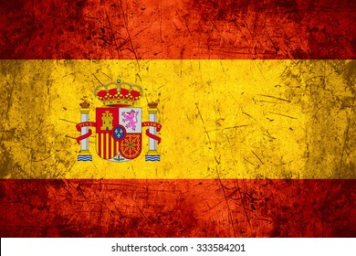 flag of Spain or Spanish banner on rough pattern metal background