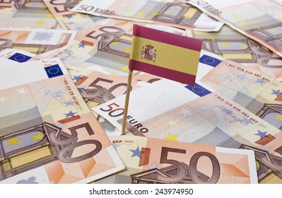 Flag of Spain sticking in european banknotes.(series)