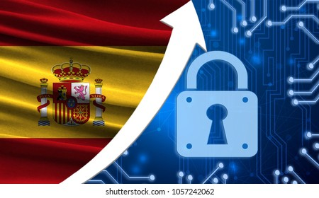 The flag of Spain together with the blue cryptogram and the up arrow with the lock. This concept shows the increased level of security of the crypto currency and blockchain wallets.