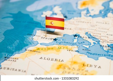 the Flag of spain in the world map