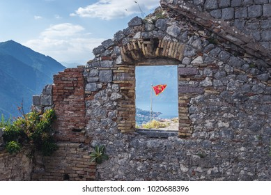 Flag in St John Fortess in ancient part of Kotor town, Montenegro