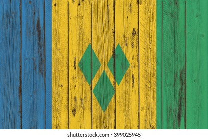 Flag of St. Vincent and the Grenadines  painted on wooden frame