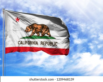 flag State of California on a flagpole