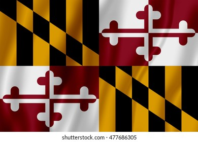 Flag of the State of Maryland (3D Illustration)