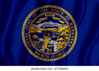 Flag of the State of Nebraska (3D illustration)