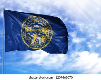 flag State of Nebraska on a flagpole