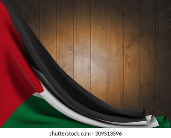 Flag of the State of Palestine on wooden table with flash of light