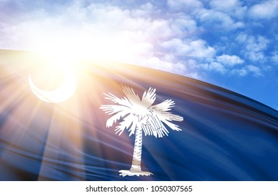 flag of State of South Carolina against the blue sky with sun rays