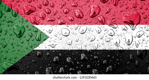 Flag of Sudan on a metallic background. The Sudanese flag with rain droplets