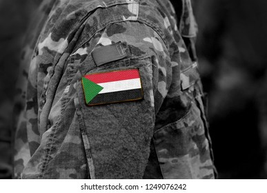 Flag of Sudan on soldiers arm. Sudan flag on military uniform. Army, troops, Africa (collage).