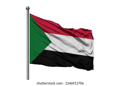 Flag of Sudan waving in the wind, isolated white background. Sudanese flag.