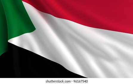 A flag of Sudan in the wind