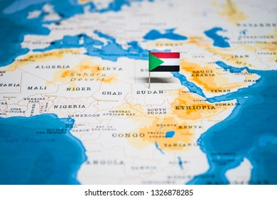the Flag of sudan in the world map