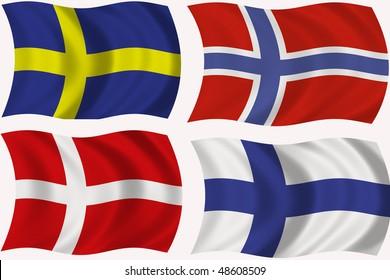 Flag of Sweden, Denmark, Norway, Finland