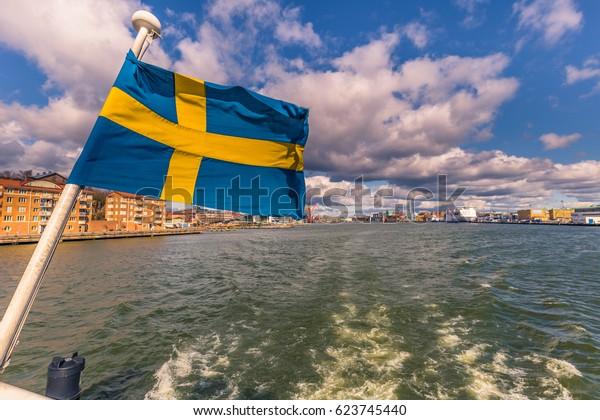 Flag of Sweden in Gothenburg, Sweden