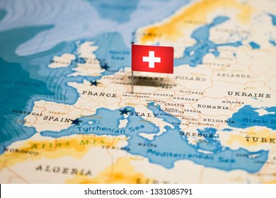 the Flag of swiss in the world map