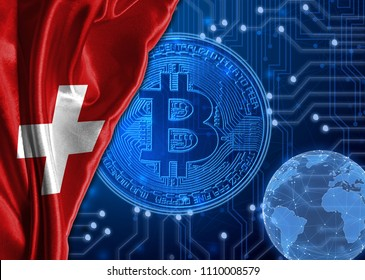 Flag of Switzerland against the background of crypto currency bitcoin.