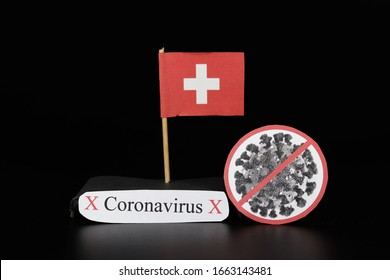 Flag of Switzerland with cell of Covid-19 type which is of a group of RNA viruses. Pandemic disease on the same basis as the flu. Switz is another country where the number of infected people increases