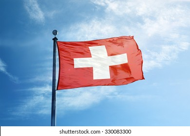 Flag of Switzerland on the mast