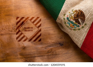 Flag  and symbol made in Mexico on a wooden surface