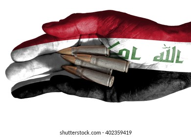 Flag of Syria overlaid the hand of an adult man holding four bullets. Conceptual image for war, violence, conflicts. Image isolated on white background