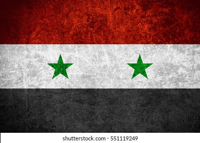 flag of Syria or Syrian banner on scratched vintage texture