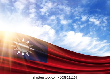flag of Taiwan in the sun