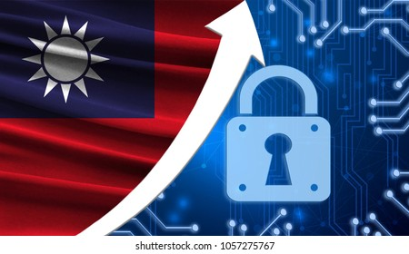 The flag of Taiwan together with the blue cryptogram and the up arrow with the lock. This concept shows the increased level of security of the crypto currency and blockchain wallets.
