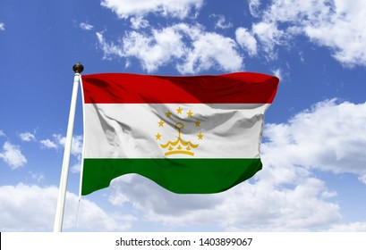 Flag of Tajikistan, three horizontal stripes: red, white and green and a stylized crown, a semicircle with seven stars. Officially Republic. Mountainous country of the Asian continent, Central America