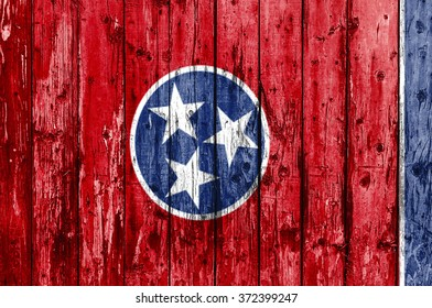 Flag of Tennessee painted on wooden frame