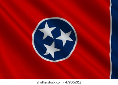 Flag of Tennessee is a state of United States. 3D illustration
