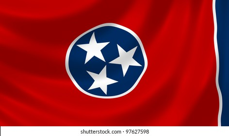 Flag of Tennessee waving in the wind detail