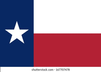 Flag of Texas (the Lone Star Flag). Accurate dimensions, elements proportions and colors.