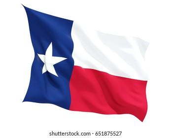 Flag of texas, US state fluttering flag isolated on white. 3D illustration