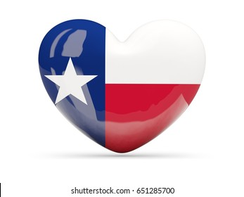 Flag of texas, US state heart icon isolated on white. 3D illustration