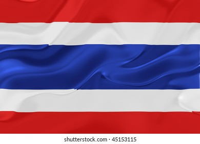 Flag of Thailand, national country symbol illustration wavy fabric