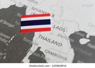 The flag of Thailand placed on the world map