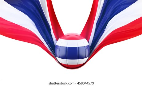 Flag of thailand with volleyball championship  ,  isolated white background .3d illustration.national team