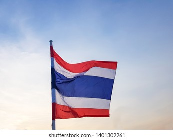 Flag of Thailand(National flag). flutters in the wind. Blown by the wind.flick.There are three colors Including White, blue and red. blue Sky backdrop