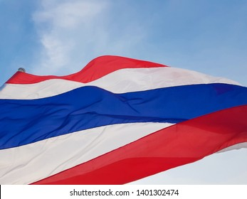 Flag of Thailand(National flag). flutters in the wind. Blown by the wind.flick.There are three colors Including White, blue and red