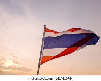 Flag of Thailand(National flag). flutters in the wind. Blown by the wind.flick.There are three colors Including White, blue and red.