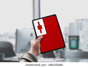 Flag of Tonga on Tablet/Ipad. Tonga Flag.
