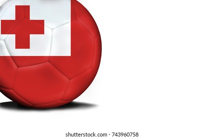The flag of Tonga was represented on the ball, the ball is isolated on a white background with space for your text.